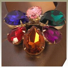 Vintage Shoe Clip by MUSI with Large Multi Colored Pear Shaped Stones