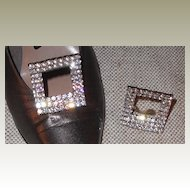 Shoe Clip by MUSI - Austrian Crystal Clear Rhinestone Rectangular Stand-up
