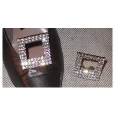 Shoe Clip by MUSI - Austrian Crystal Clear Rhinestone Rectangular Stand-up - Red Tag Sale Item
