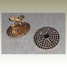 Circular MUSI Shoe Clip with Black Austrian Crystal Rhinestones