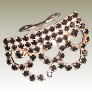 Vintage Jet  Victorian Style Draped Austrian Crystal Shoe Clip by MUSI