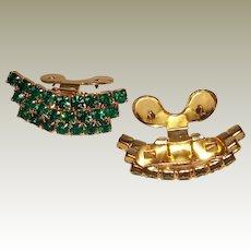 MUSI Emerald Austrian Crystal Rhinestones Curved 3 Row Shoe Clip