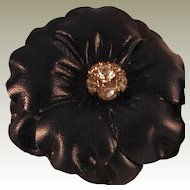 Vintage Navy Leather Flower MUSI Shoe Clip with Rhinestone Center