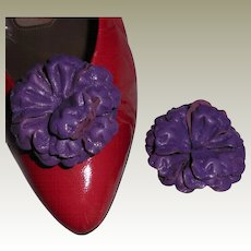 MUSI Shoe Clip – Purple Leather Flower