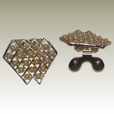 Vintage  Silver Plated Shoe Clip with Open Work Grid and Faux Pearls by MUSI