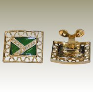 Rectangular MUSI Shoe Clip with Clear Green Enamel and Austrian crystal Rhinestones