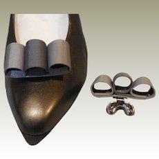 Vintage MUSI Shoe Clip Two Tone Grey Faille