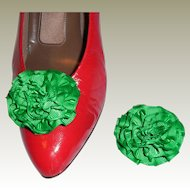 MUSI Shoe Clip – Kelly Green Faille Rosette