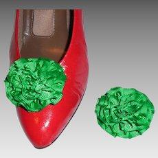 MUSI Shoe Clip – Kelly Green Faille Rosette