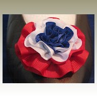 Vintage Large Red White Blue (Patriotic) Faille Rosette Shoe Clip  by MUSI