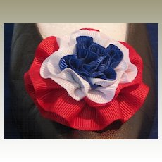 Vintage Large Red White Blue (Patriotic) Faille Rosette Shoe Clip  by MUSI