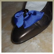 MUSI Shoe Clip – Royal Blue Faille with Cabochons