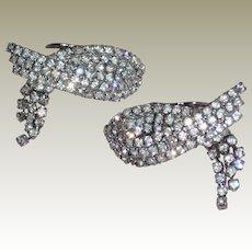 Vintage Triple Row Austrian Crystal Rhinestones Draped Shoe Clip by MUSI