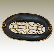 MUSI Shoe Clip – Navy Leather with Gold Plated Frame and Filigree Insert
