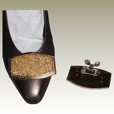 Vintage MUSI Shoe Clip with Hand Sewn Metallic Gold Seed Beads