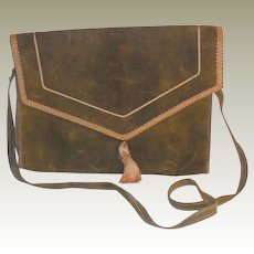 Vintage Olive Green Suede Envelope Purse with Strap and Tassel