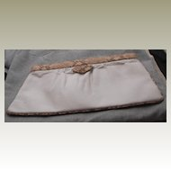 Vintage Susan Gail White Clutch Bag with Camel Brown Snake Trim