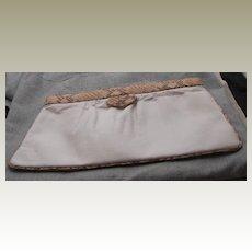 Vintage Susan Gail White Clutch Bag with Camel Brown Snake Trim