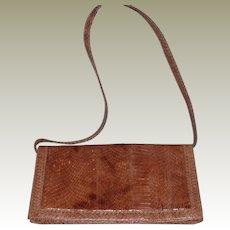 Vintage Brown Snakeskin Shoulder Clutch Purse