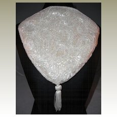 Vintage White Triangular Shaped Beaded Evening Bag with Tassel Made for Saks Fifth Avenue