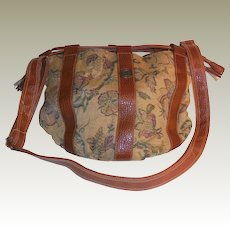 Vintage Capezio Drawstring  Tapestry and Faux Leather Tote Cross-Body Handbag Purse
