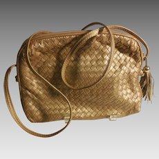 Vintage Ganson Matte Gold Woven Leather Purse