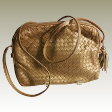 Vintage Ganson Matte Gold Woven Leather Purse