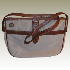 Vintage 1970's Morris Moskowitz Bone Striated Vinyl and Brown Leather Shoulder Bag Purse