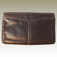 Large Vintage Morris Moskowitz Dark Brown Leather Handbag Purse Clutch