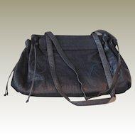 Vintage Carlos Falchi Navy Purse Handbag with Double Shoulder Straps