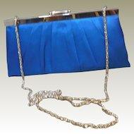 Vintage Teal Blue Satin Cache Evening Purse