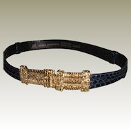 Vintage Morris Moskowitz Woman's Black Adjustable Reptile Belt