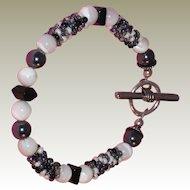 Artisan Black and White Beaded Bracelet