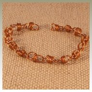 Artisan Copper Coiled Bracelet with Self Clasp