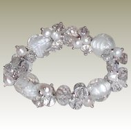 Vintage Crystal Art Glass and White Freshwater Pearls Stretch Bracelet
