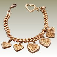Vintage Gold Plated Heart Charm Bracelet  with 6 Charms