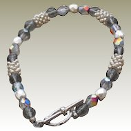 Artisan Silver Seed Beads and Czech Glass Druk and Faceted Beads Bracelet