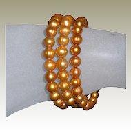 Vintage 3 Gold Dyed Fresh Water Pearl Slip-On Bracelets