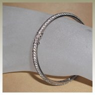 Vintage Sterling Silver bangle with CZs  7.25 inches