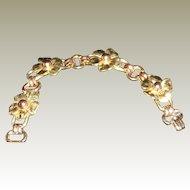 vintage Kreisler Two Tone Link Flower Bracelet circa 1940