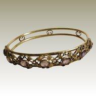 Vintage Brass Faux Amethyst Bangle Bracelet