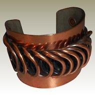 "Vintage Mid Century Rebajes Copper Cuff/Bracelet – 7"""