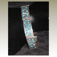 Vintage Sterling Silver Hinged Bracelet with Turquoise Mosaic