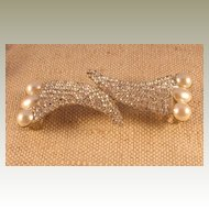 Austrian Crystal Rhinestone and Faux Pearl Belt Buckle