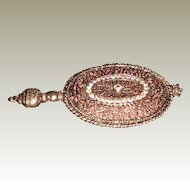 Vintage Small Hand Mirror by Battani