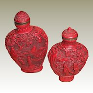 Fine Old 19th cent Carved Chinese Ch'ien Lung Lacquer Cinnabar Snuff Bottles Coral –Two (2)