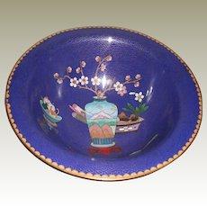 Vintage Blue Cloisonné Bowl with Designs (vase, fruit and flowers)