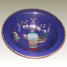 Vintage Blue Cloisonné Bowl with Designs (vase, fruit and flowers)