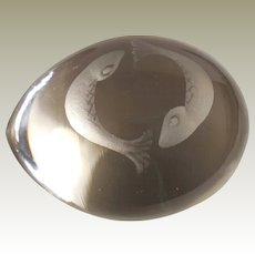 Vintage Egg Shaped Glass Paperweight  Etched with Koi Fish