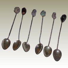 Vintage Semi-Precious Cocktail spoons (6)